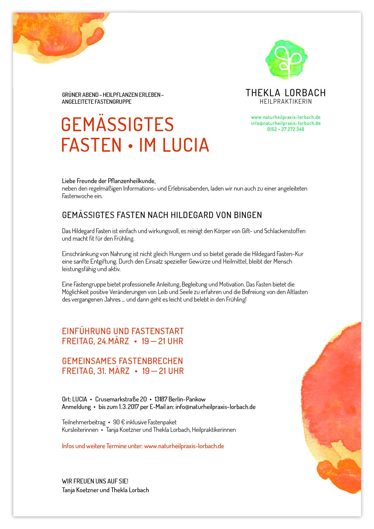 Flyer Gemässigtes Fasten im Lucia